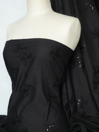 Poly Cotton Sequins Embroidered Material- Black Flower Q1265 BK