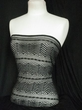 Lace Knitted 4 Way Stretch Zig-Zag Fabric- Black SQ4 BK