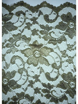 Lace Scalloped Floral Stretch Lycra Fabric- Olive Q615 OLV