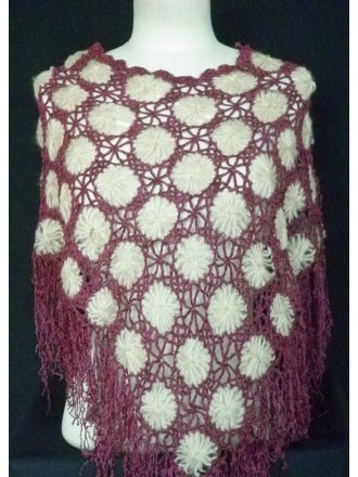 Clearance Purple/Beige Acrylic Knit Poncho