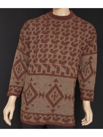 MEN'S Brown Pure Vintage Wool Abstract Jumper