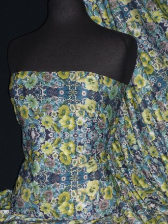100% Viscose Stretch Fabric- Blue/Lime Green Vintage Floral Q1331 BLLM
