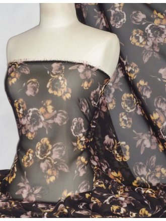 Chiffon Soft Touch Sheer Fabric - Lina Autumn Floral PCH25 BKMCH