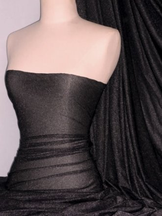 Subtle Gold Shimmer 4 Way Stretch Fabric - Black SQ55 BK