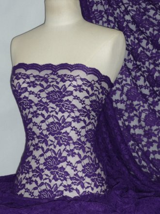 Lace Rose Design Scalloped 4 Way Stretch Fabric- Purple Q723 PPL