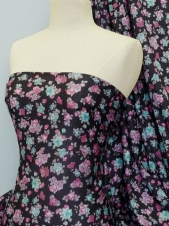 Poly Viscose Light Weight Sheer Fabric- Pink/Blue Rose Q735 PNBL