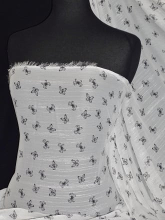 Chiffon Silver Shimmer Soft Touch Sheer Fabric - Butterfly Farm CHF194 WHTBK