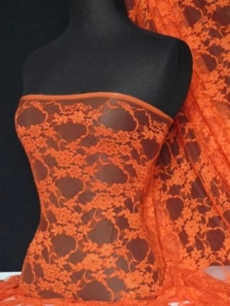 Flower Stretch Lace Fabric- Orange Q137 OR