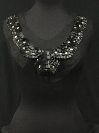 Black Silver Studded Ribbon Net Neck Piece- EM230 BK