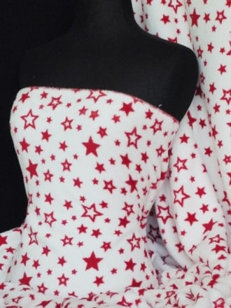 Micro Fleece Ultra Soft Fabric- White/Red Stars Q877 RDWHT