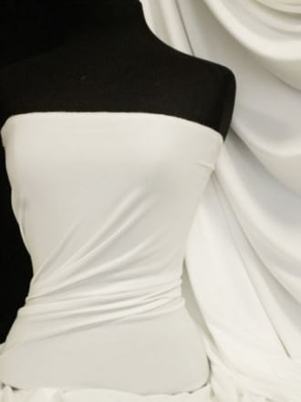 Enya Crepe 4 Way Stretch Jersey Fabric- White Q1169 WHT