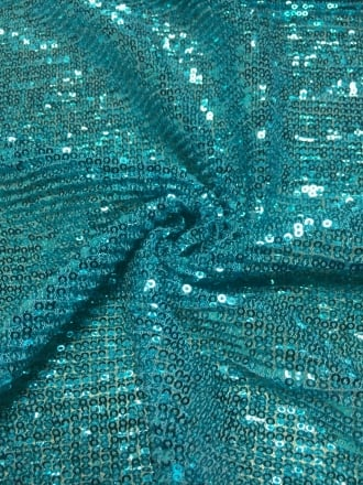 Showtime Fabric All Over Stitched Sequins Pleated Mesh- Turquoise Glitz SEQ60 TQ