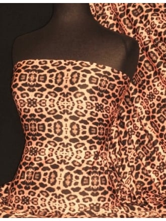 Poly Viscose Light Weight Sheer Fabric- Roxie Coral/ Black Leopard PVSCP17 CRLBK