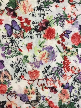 French Crepe Fabric- Floral Forest White/Multi CRP1 WHMLT