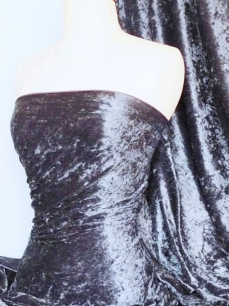 Crushed Velvet/Velour Stretch Material- Steel Grey Q156 STLGR