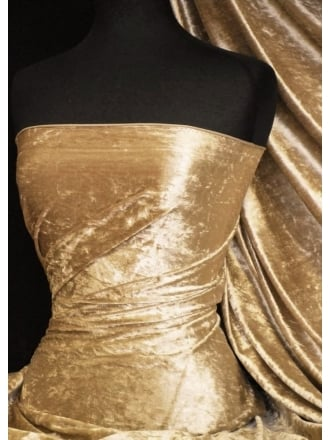 Crushed Velvet/Velour Stretch Material- Golden Sand Q156 GSND