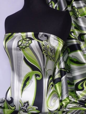 Super Soft Satin Fabric- Green Paisley Floral Q1008 GRN