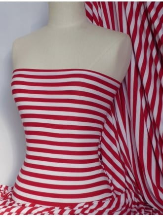 100% Cotton Interlock Knit Soft Jersey T-Shirt Fabric- Stripe Red/White SQ188 RDWHT