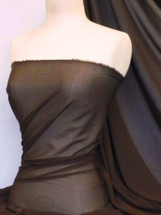 Chiffon Soft Touch Sheer Fabric Material- Brown Q354 BR