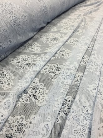 20 METRES Lace Stretch Floral Antique Material Wholesale Roll- Blue JBL11 BL