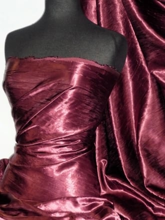 Satin Crushed Charlotte Crinkle Look Creased Fabric- Claret STN63 CLT