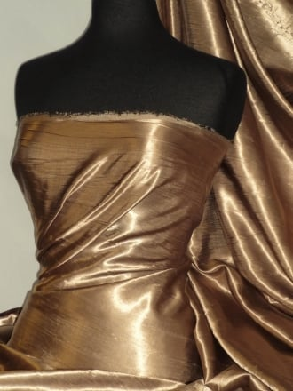 Satin Crushed Charlotte Crinkle Look Creased Fabric- Gold STN63 GLD