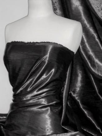 Satin Crushed Creased Look Fabric- Black STN67 BK