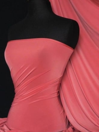 Silk Touch 4 Way Stretch Lycra Fabric- Dark Coral Q53 DKCRL
