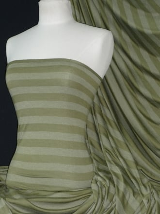 100% Viscose Stretch Fabric Material- Stripe Olive Q240 OLV