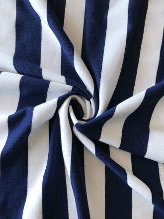 Poly Viscose Stretch Fabric- Navy/White Stripe SQ261 NYWH