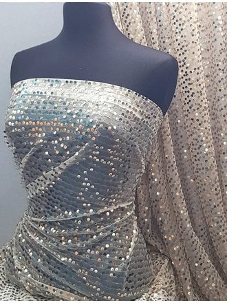 Showtime Sequins Dress/Dance Fabric- Pale Gold Jingle SQ266 IVGLD
