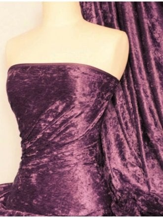 Crushed Velvet/Velour Stretch Material- Grape Q156 GRP