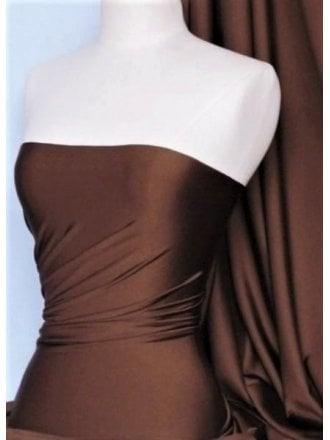 Shiny Lycra 4 Way Stretch Material- Brown Q54 BR