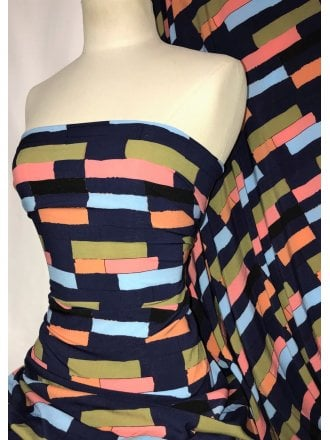 Smooth Touch Woven Blouse/Dress Fabric- 90's Abstract Navy/Multi SMT36 NYMLT