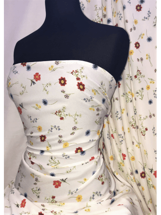 Georgette Crepe Soft Touch Sheer Fabric- Flower Picking SQ332 IVMLT