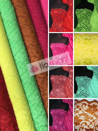 20 METRES Lace Scalloped Floral Stretch Lycra Fabric Wholesale Roll- JBL293