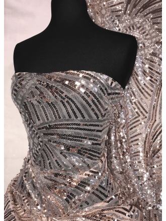 Showtime Sequins Dress/Dance Fabric- Nude & Silver Geometric SQ268 NDSLV