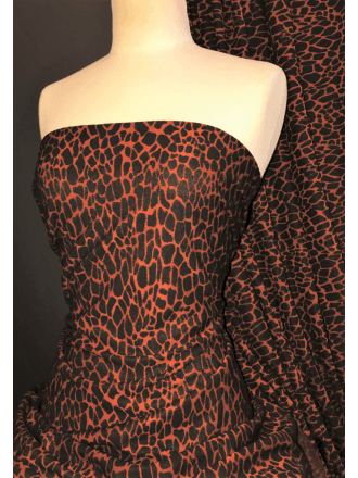 Knitted (Ponte) 4 Way Stretch Mid-Heavy Weight Fabric- Giraffe Rust/Black SQ373 RSTBK