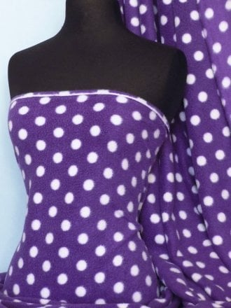 Polar Fleece Anti Pill Washable Soft Fabric- Purple/White Polka Dots Q44 PPLWHT