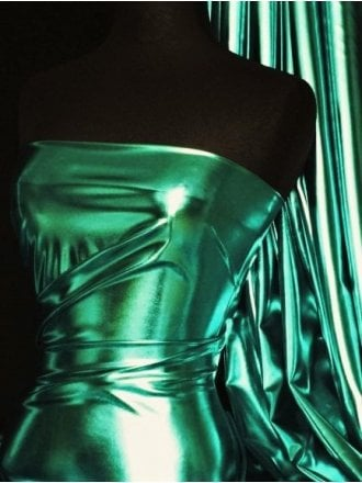 Wet Look Foil Stretch Lycra Fabric- Sea Green NG253 SGR