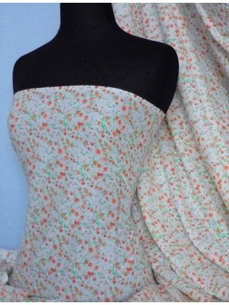 Cotton Poplin Non-Stretch Material- Peach Ditsy Floral Q624 PCH