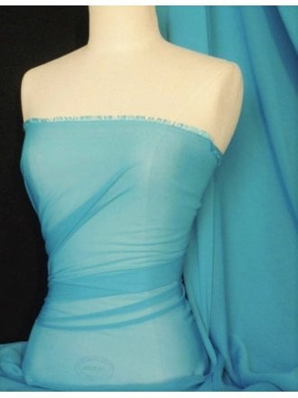 Chiffon Soft Touch Sheer Fabric Material- Light Turquoise Q354 LTQS