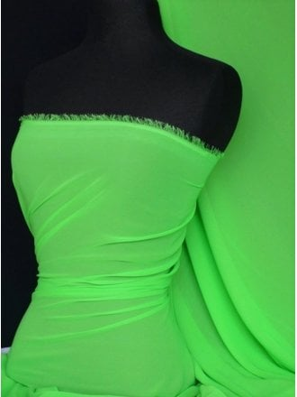 Chiffon Soft Touch Sheer Fabric Material- Flo Green Q354 FLGRN