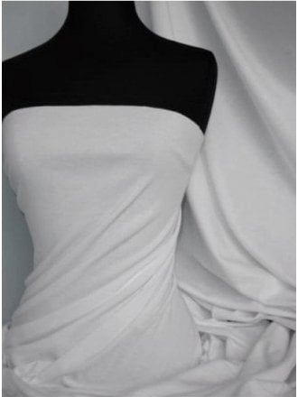 Clearance Soft Fine Rib 100% Cotton Knit Material- White SQ516 WHT