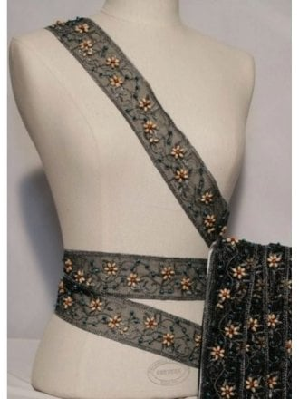Beaded Flower Embellished Mesh Trimming- Black SY89 BK