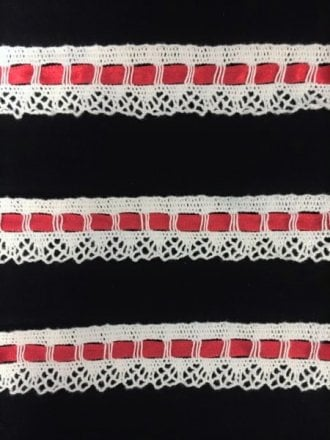 Cotton Crochet Red Ribbon Trim- White SY139 WHTRD