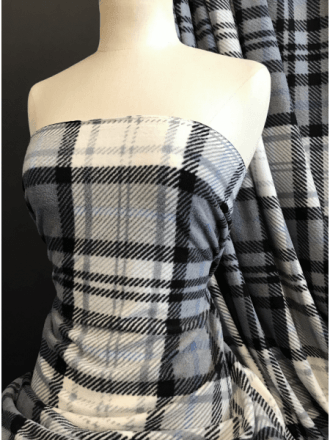 12 PIECES (1/2 Metre) Clearance Polar Fleece Anti Pill Washable Soft Fabric- Hatched Tartan Grey/Black CLPF GRBK