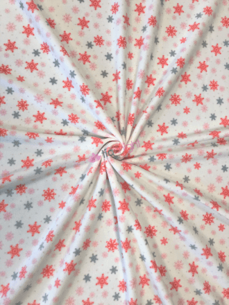 Polar Fleece Anti Pill Washable Soft Fabric- Dreamy Snowflakes SQ519 IVMLT