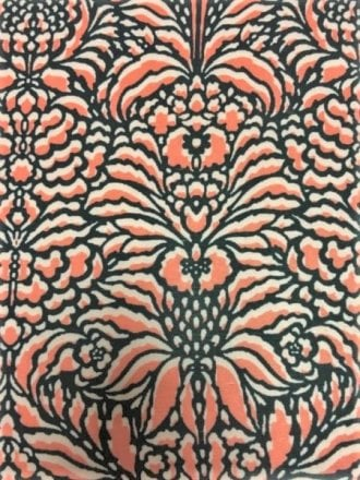 Viscose Cotton Stretch Lycra Fabric- Jungle Flower Coral VSC251 CRLBK