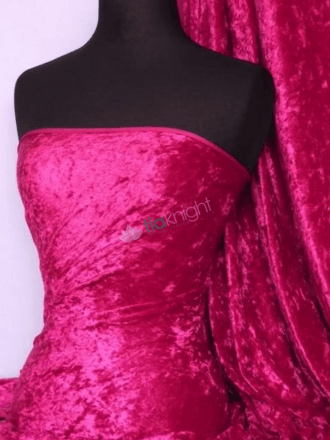 Crushed Velvet/Velour Stretch Material- Cerise Q156 CRS